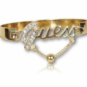 Guess Bangle Bracelet w/ Clear Stones Polish Gold